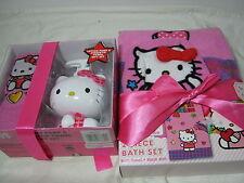 4pc Hello Kitty Soap Pump & Tip Towel, Bath Towel & Wash Mitt Set NIP