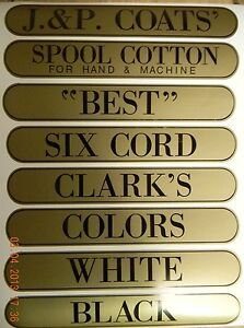J & P COATS SPOOL CABINET DECALS 8 PIECE SET / Black on Gold 9 1/2 X 1 11/16