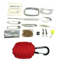 20-Piece Emergency Red Paracord Survival Kit