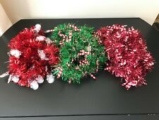 Lot of 3 Candy Cane + Snowman Tinsel Garlands 8' Red White Green Christmas