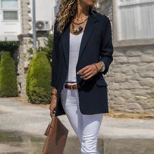 UK Womens Long Sleeve Slim Blazer Suit Coats Work Office Formal Suit Jackets