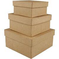 Creativ - Square Shaped Boxes Craft Storage 3 Brown Paper Mache 10 x 12.5 x 15cm