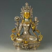 Chinese Antique Silver copper Gilt  Carved Figure Of Buddha statue