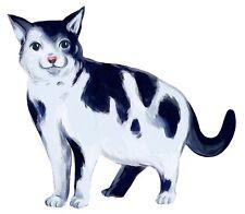 BLACK WHITE CAT VINYL DECAL STICKER for LAPTOP TABLET TILE HOME DECOR Sbeeart