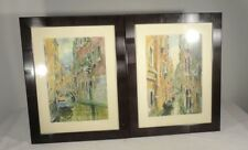 Antique Vintage Illegibly Signed Watercolor Paintings Russian Venice Italy