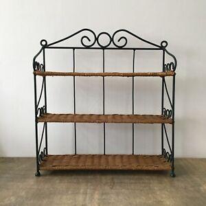 Vintage Wicker Shelving Unit Green Metal 3 Shelf Storage Display Kitchen Boho