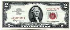 1963 Two Dollar US Note, Red Seal $2 Bill, Monticello, Nice Crisp Uncirculated!