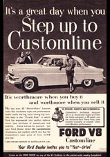 "1954 FORD CUSTOMLINE V8 AD A3 CANVAS PRINT POSTER FRAMED 16.5""x11.7"""