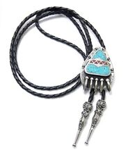 BEAR CLAW TURQUOISE CHIP INLAY BOLO TIE 17238 new southwest western bolo ties