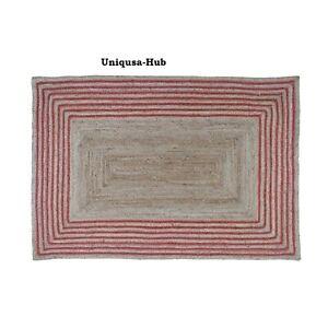 Rug Runner 100% Natural Braided Jute Modern Living Area Carpet Rustic Look Rugs