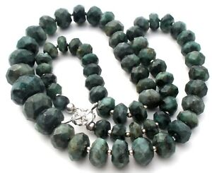 """Green & Black Emerald Bead Necklace Sterling Silver RSI Jewelry 21"""" Graduated"""