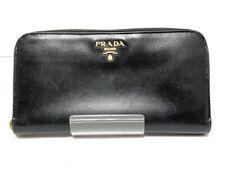 Auth PRADA Black Leather Long Wallet
