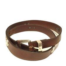 Men's PGA TOUR Belt by Danbury Accessories Brown 36 Genuine Leather Silver