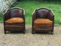 French antique exquisite Art Deco leather club chairs from paris 1930