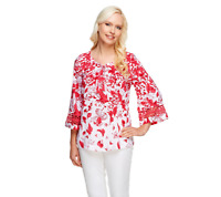Isaac Mizrahi Live! Floral Printed 3/4 Sleeve Top Size XS BLUE Color