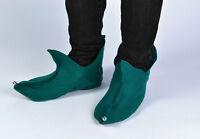 Elf Pixie Shoes Felt Green With Bells Santa Peter Pan Adult Unisex  Fancy Dress