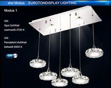 LED Pendelleuchte Hängeleuchte 6042D 6fl Kristall klar chrom Luxus Design A+
