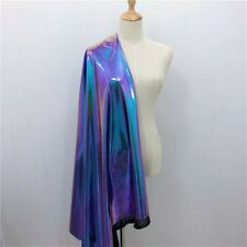 Metallic Laser Stretch Fabric Purple Turquoise Holographic Crafts Material Shiny