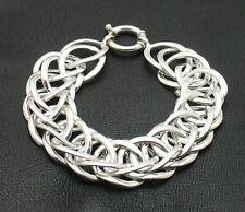 "8"" Bold Interlocked Braided Woven Chain Bracelet Real 925 Sterling Silver"