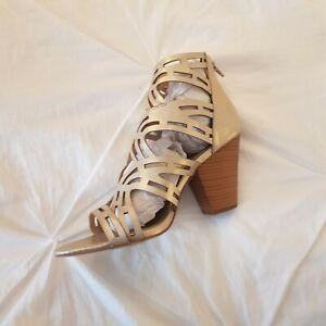 Just Fab Summer Sandals W Heels Size 8 Woman Gold bar heel