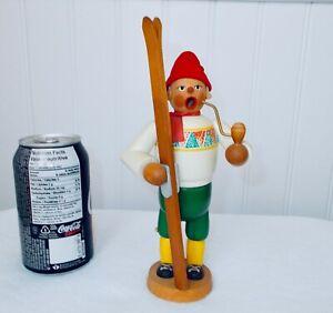 "Vtg Erzgebirge Wooden Smoker ""Räuchermann""  The Skier from DDR Germany"