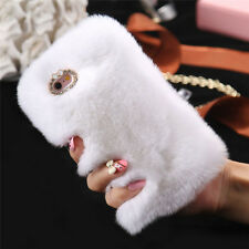 Luxury Furry Rabbit Fur Crystal Rhinestone Case Cover Soft For Iphone6/6S/Plus