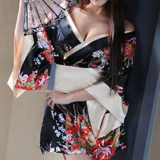 3 Pieces Womens Sexy Japanese Geisha Costume Lingerie Kimono String Thong