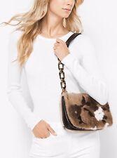MICHAEL KORS COLLECTION Goldie Floral Intarsia Fur Shoulder Bag Handbag $2800