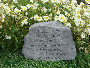Family Memorial Garden Stone Plaque Grave Marker Ornament those we love dont go