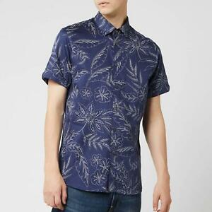 Ted Baker Medium Shirt Blue Dotted Floral Slim Fit Short Sleeve Casual RRP £89