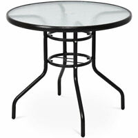 """32""""  Patio Round Table Steel Frame Dining Table Patio Furniture Glass Top"""