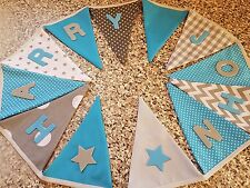 PERSONALISED BUNTING- TEAL & GREY MIX FABRICS- ANY NAME- £1 PER FLAG , FREE P&P