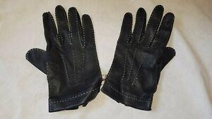 Black Women's Vintage Original Leather Gloves By Dents