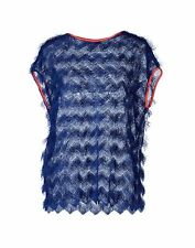 MSGM Blue fringe Top NWT sz4 40IT Small Italy