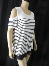 KARL LAGERFELD knit Top size Medium white black stripe Lace trim cold shoulder N