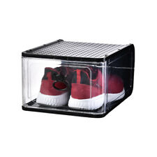 Thickened transparent plastic removable folding shoe box,BLACK 4 pieces