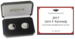 2 Coins Set 2017 Virgin Islands Silver Coins John F Kennedy with Box and COA