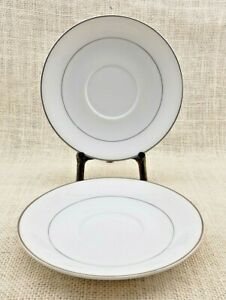 Two (2) Royal M by Meito Saucers - White with Platinum Trim - Made in Japan