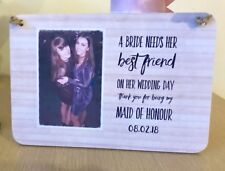 Personalised Photo Gift Maid Of Honour Wedding Wooden Plaque Sign Thank You Gift