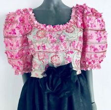 Hubert de GIVENCHY Couture 1960's Black Pink Beaded Balloon Sleeve Gown Dress