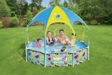 "Bestway 8' x 20"" Splash in Shade Kids Spray Play Swimming Pool with Uv Canopy"