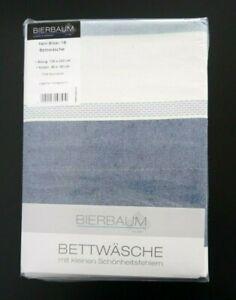 Bierbaum Baumwolle Fein Biber Bettwäsche 135x200 Streifen blau grau 2tlg RV 1B
