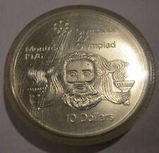 Canada Montreal 1976 Olympics Uncirculated 10 Dollar Silver Head of Zeus 1974