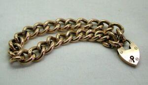 Antique 9 Carat rose Gold Curb Link Bracelet With Heart Padlock