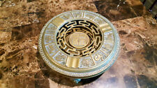 """Antique Brass Chinese Zodiac footed  9 3/4"""" diameter 2 piece big ashtray."""