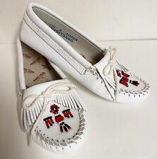 Vintage Minnetonka Moccasins Flats White Leather Beaded Thunderbird 8 Nwot
