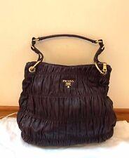 Auth Prada Napa Gaufre Hobo bag; Cordovan color