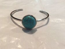 TURQUOISE SILVER CUFF BRACELET FITS 7 To 9 1/2 INCHES