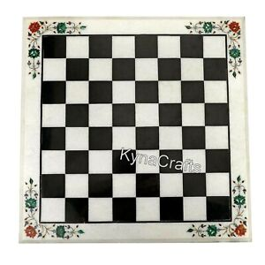 18 Inches Marble Coffee Table Top Checked Design Chess Table for Home Decor