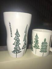 Starbucks 2015 Pine Tree Green Coffee Mug  12 FL oz And Matching Travel mug